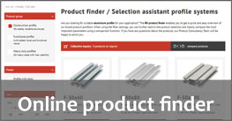 Product finder aluminium profiles