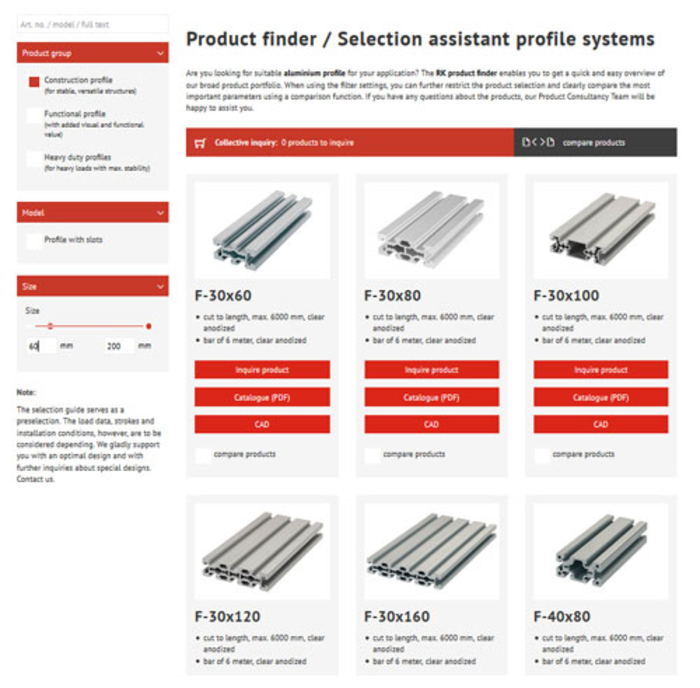 Product finder for aluminium profiles