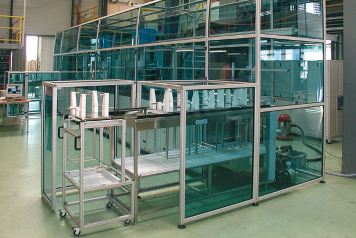 Complete protective housing for production lines according to customer specification
